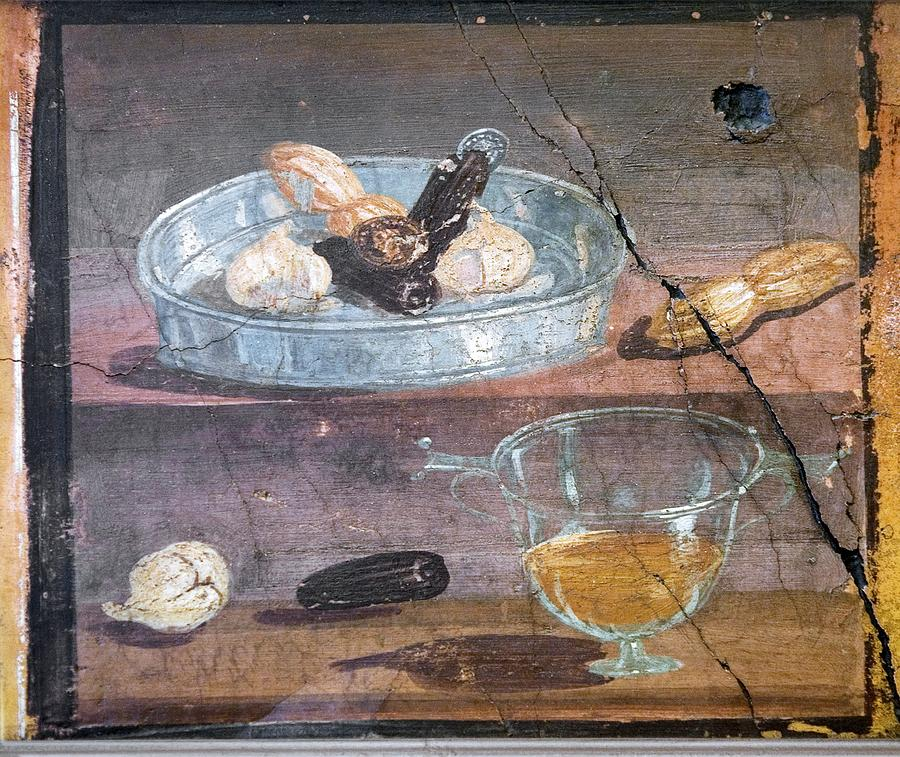 Food Photograph - Food And Glass Dishes, Roman Fresco by Sheila Terry