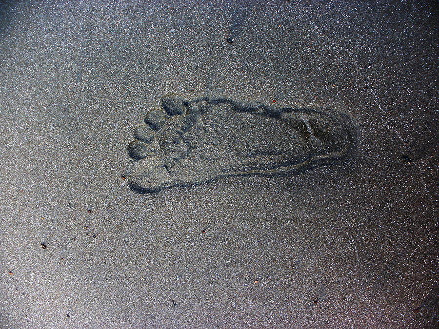 Beach Photograph - Footprint On Sand by Rosvin Des Bouillons