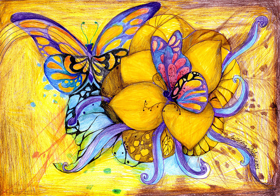 Butterfly Drawing - For Children Eyes by Hong Diep Loi