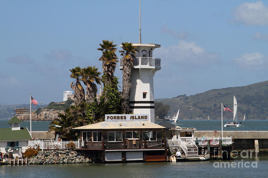 San Francisco Photograph - Forbes Island Restaurant With Alcatraz Island In The Background . San Francisco California . 7d14258 by Wingsdomain Art and Photography