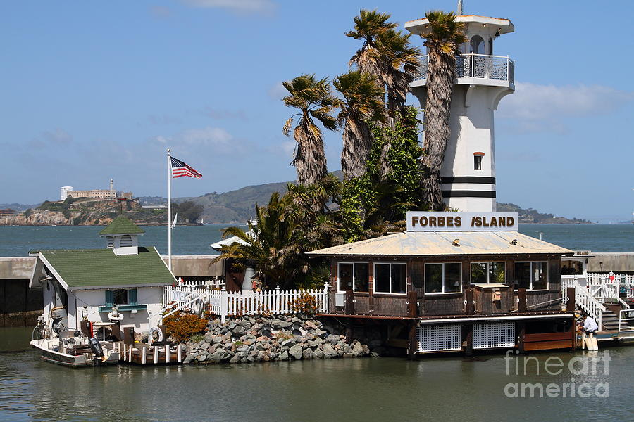 San Francisco Photograph - Forbes Island Restaurant With Alcatraz Island In The Background . San Francisco California . 7d14261 by Wingsdomain Art and Photography