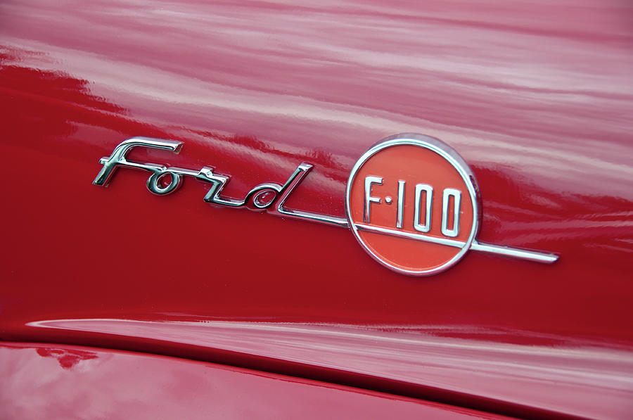 1955 Ford F100 Photograph - Ford F-100 Nameplate by Guy Whiteley