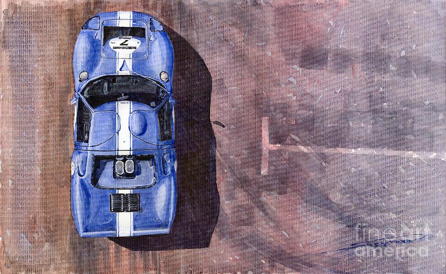 Watercolor Painting - Ford Gt40 Leman Classic by Yuriy  Shevchuk