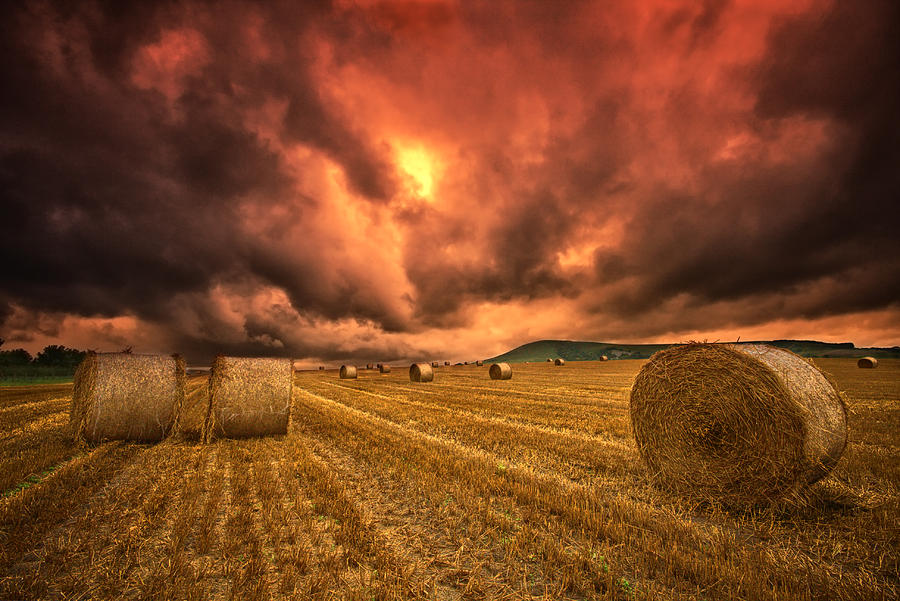 Hay Bales Photograph - Foreboding Sky by Mark Leader