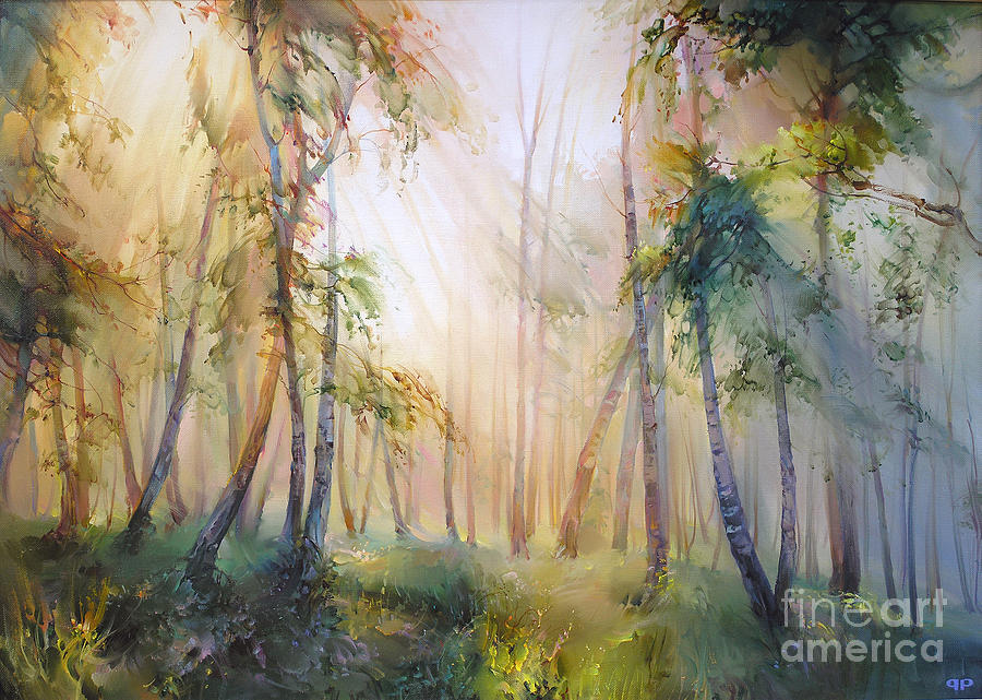Orest Painting - Forest fairy tale by Roman Romanov