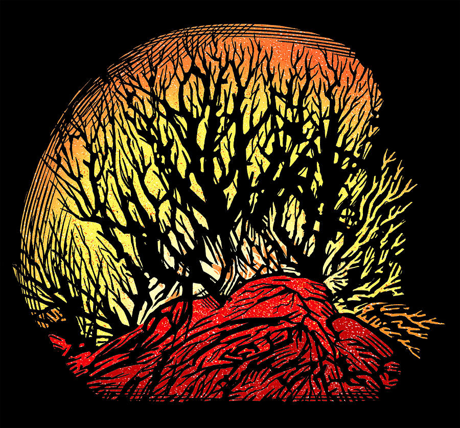 Tree Photograph - Forest Fire, Lino Print by Gary Hincks