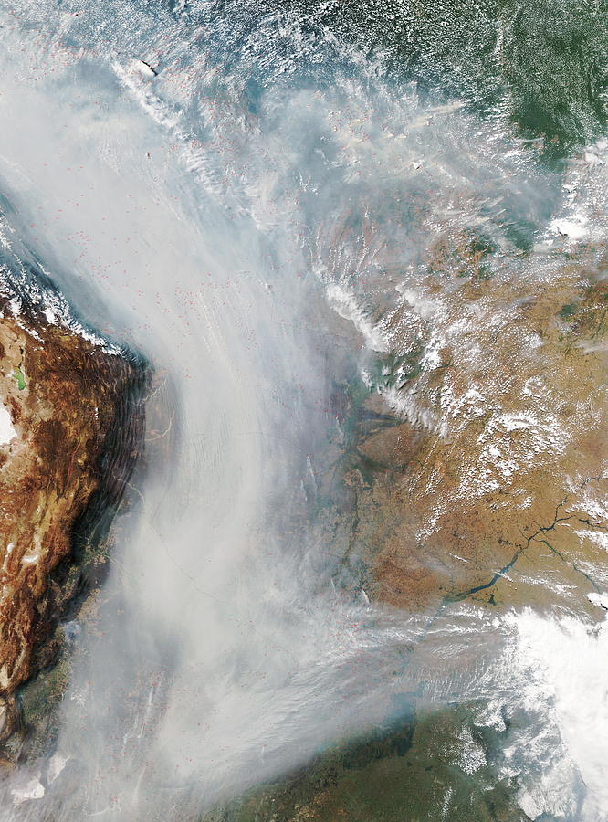 Andes Photograph - Forest Fires In South America by Nasa