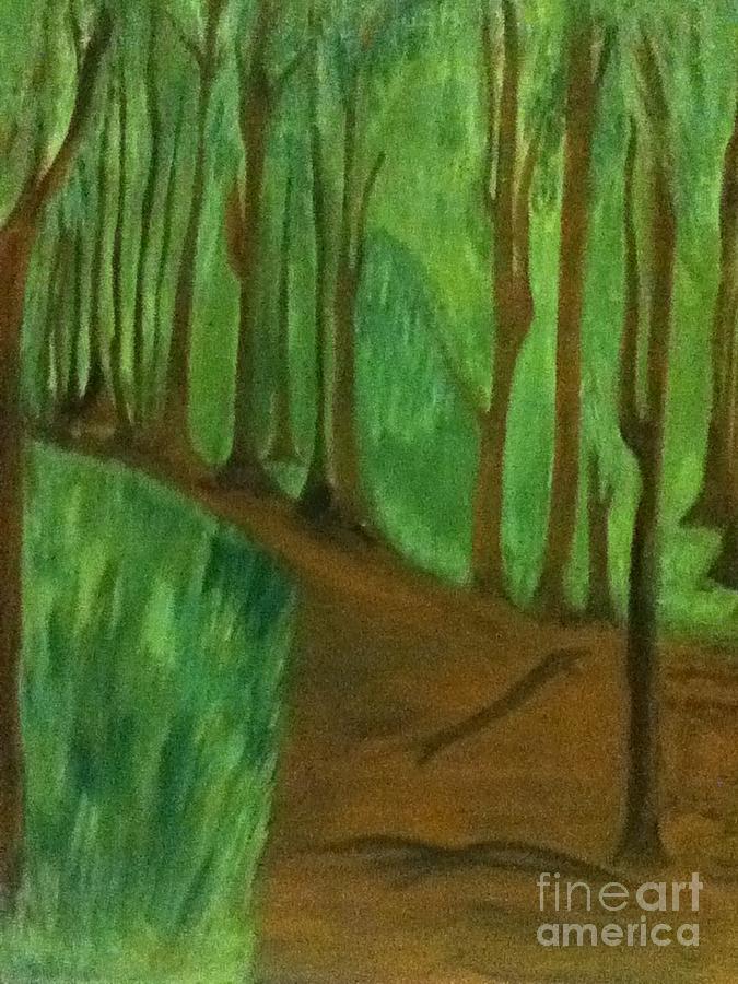 Woods Painting - Forest Path by Berta Barocio-Sullivan