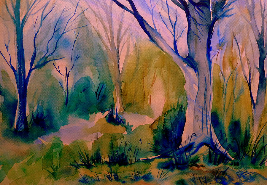 Forest Scene Painting By Carole Spandau
