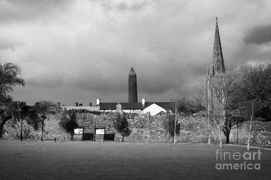 Former Photograph - Former Castle And Bishops Palace And Workhouse Site With Cathedral And Round Tower Killala by Joe Fox