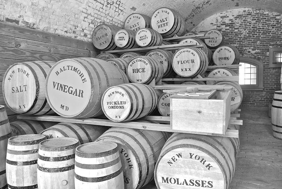 Antique Photograph - Fort Macon Food Supplies Bw 9070 3759 by Michael Peychich