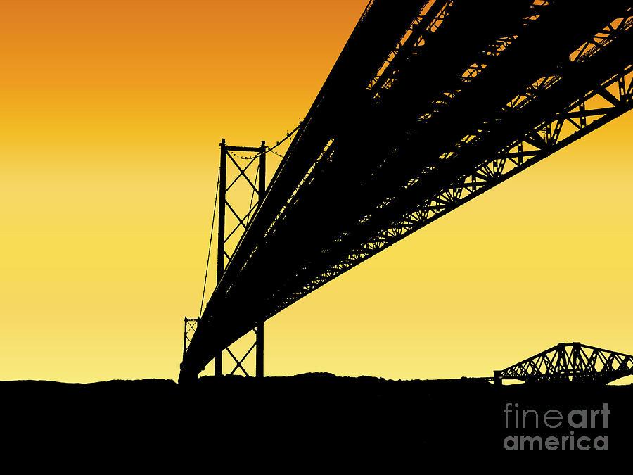 Forth Bridges Silhouette Photograph by Yvonne Johnstone