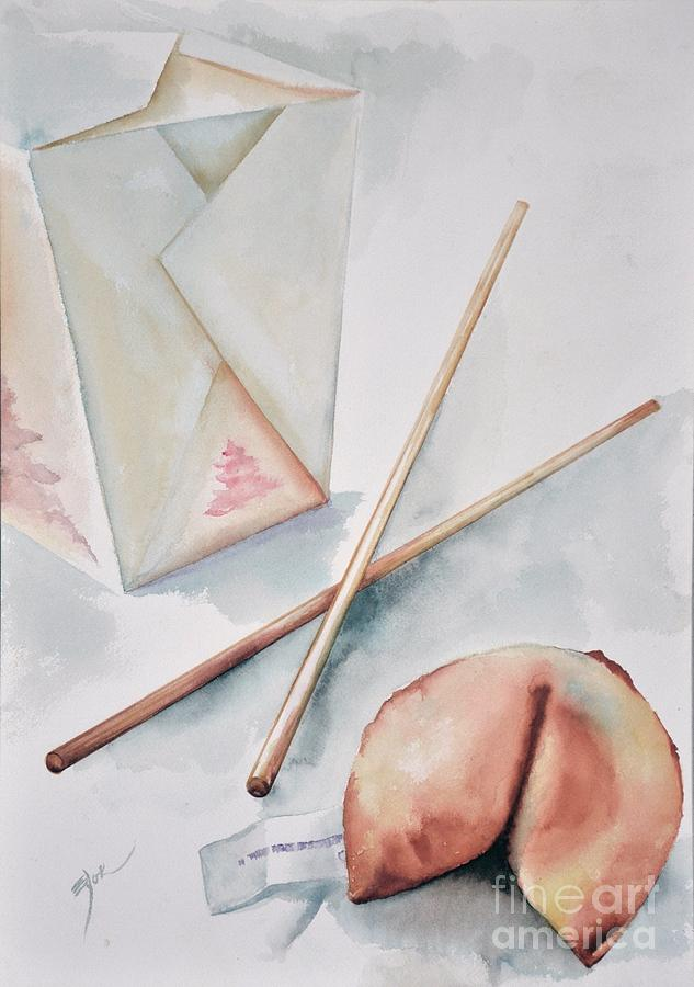 Fortune Cookie Painting - Fortune Cookie by Elizabeth York