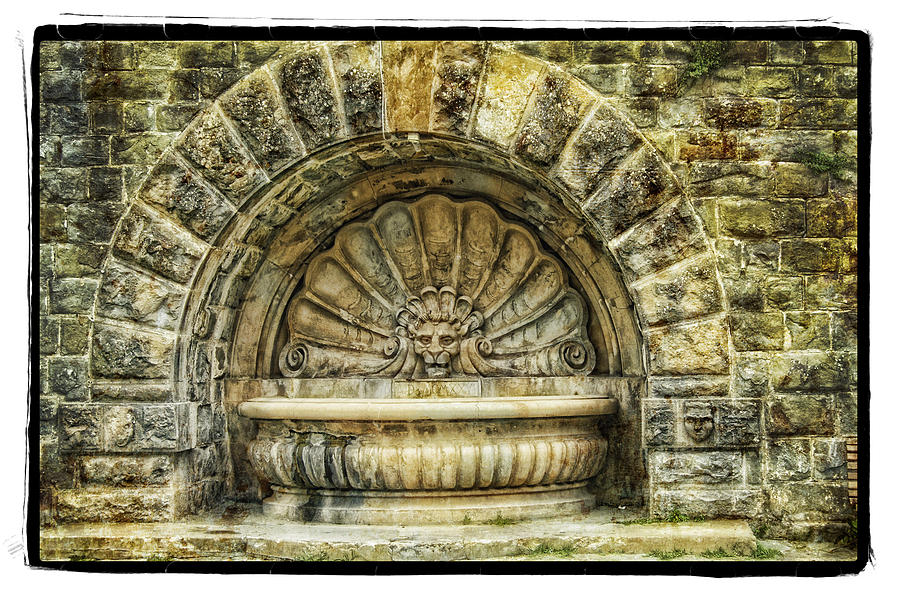 Framed Pyrography - Fountain by Mauro Celotti
