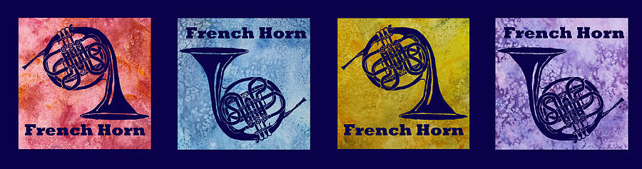 French Horn Digital Art - Four French Horns by Jenny Armitage