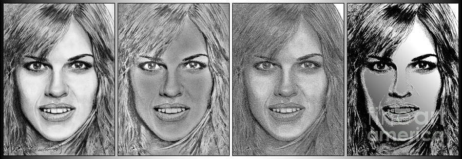Hilary Swank Digital Art - Four Interpretations Of Hilary Swank by J McCombie