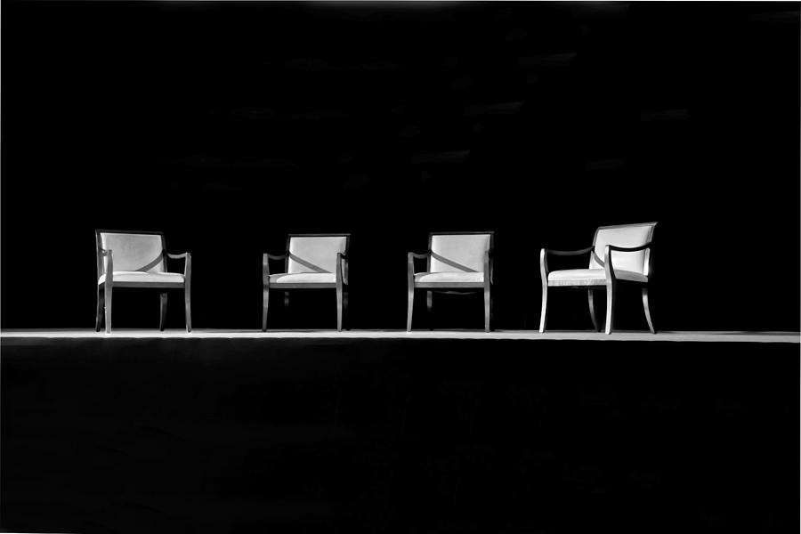 Beau Interesting Photograph   Four Interview Chairs On Stage By Kantilal Patel