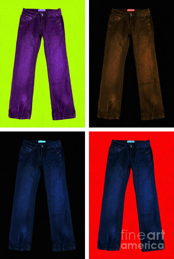 Brown Photograph - Four Pairs Of Blue Jeans - Painterly by Wingsdomain Art and Photography