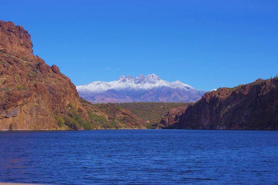 Arizona Mountains Photograph - Four Peaks In Winter by David Rizzo