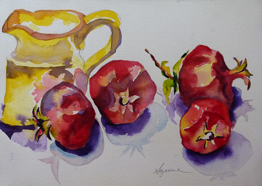 Pomegranates Painting - Four Pomegranates by Suzanne Willis