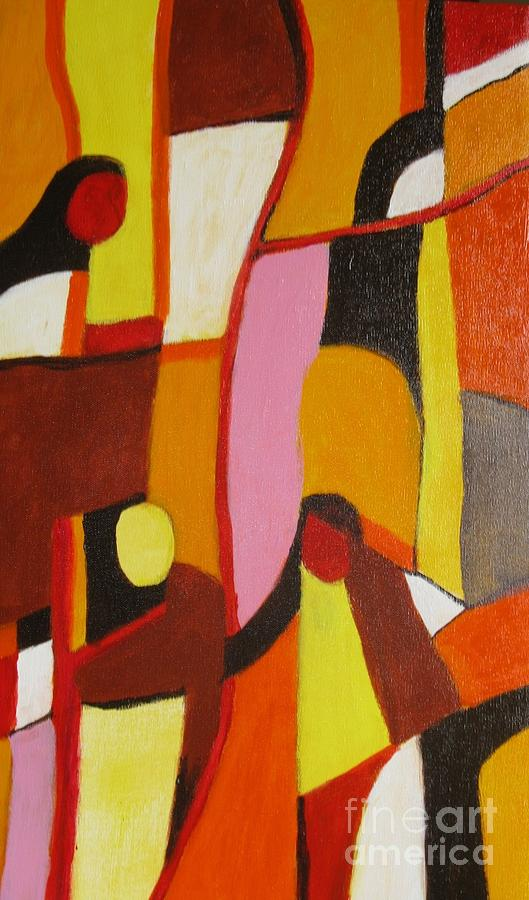 Semi Abstract Painting - Four Women by Nedunseralathan R