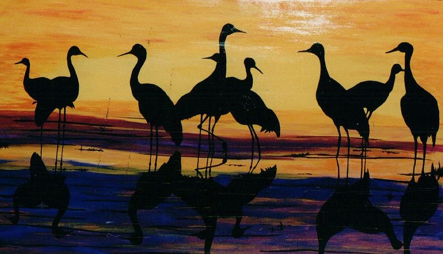 Wild Life Painting - Fowl At Dusk by Otis L Stanley