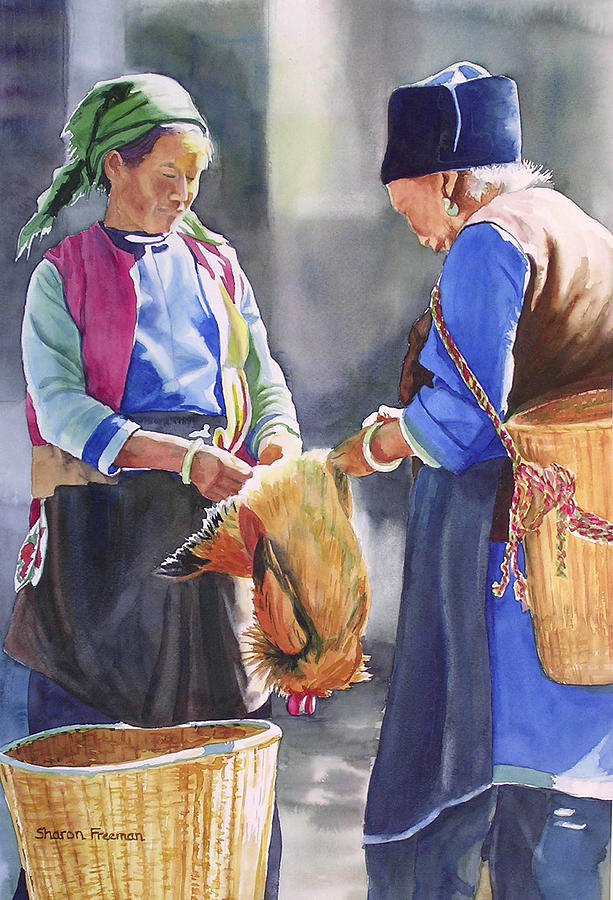 China Painting - Fowl Decision by Sharon Freeman