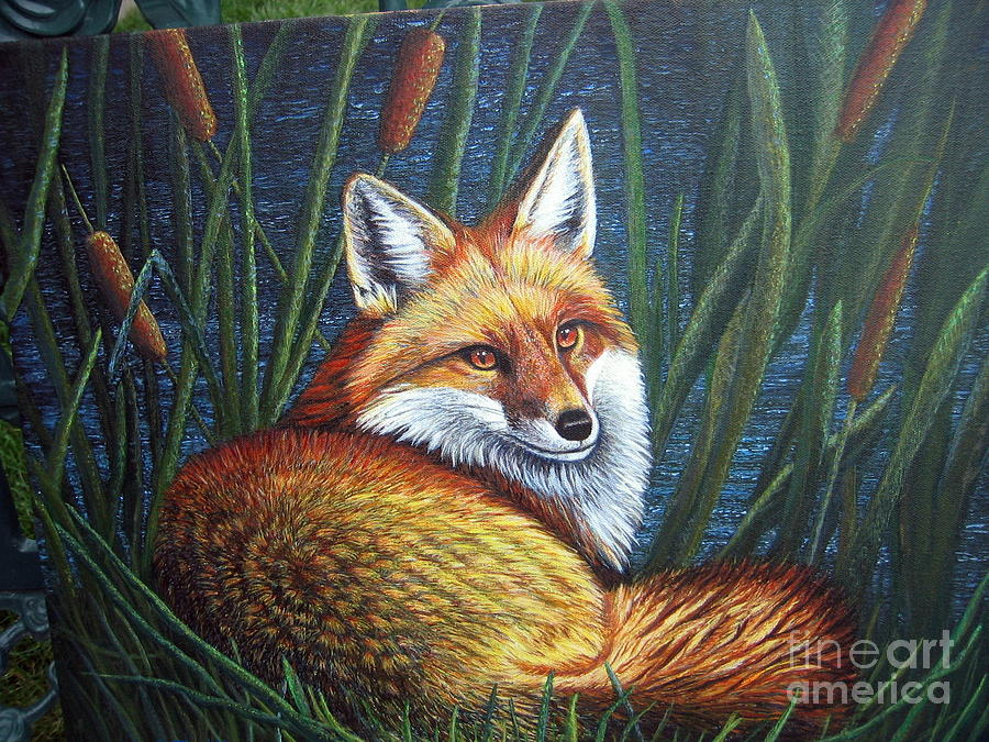 Fox Painting - Fox In Cat Tails by Terri Maddin-Miller