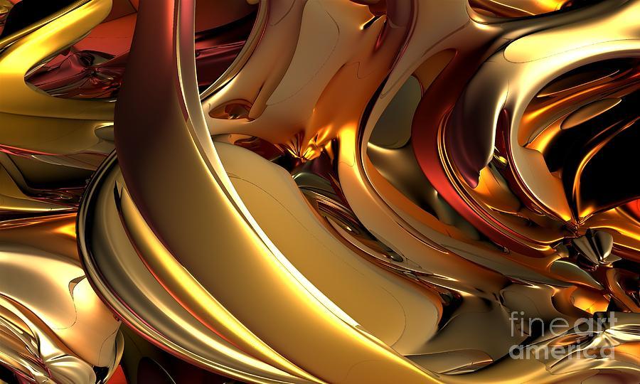 Fractal Digital Art - Fractal - Golden Metal by Bernard MICHEL