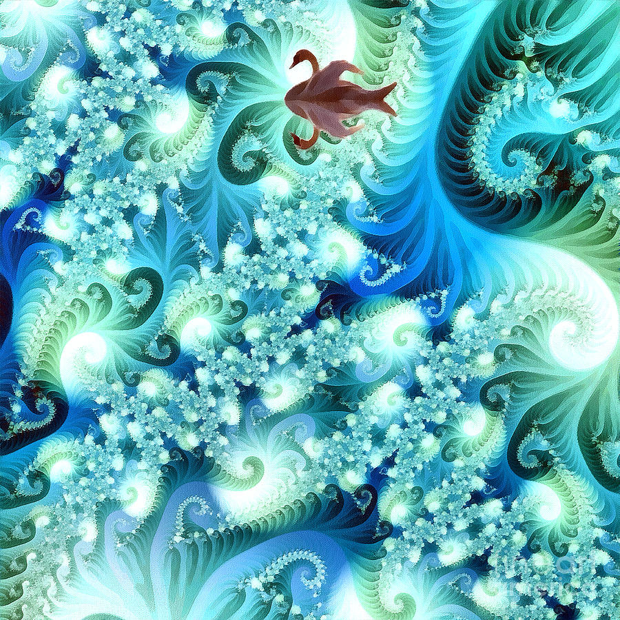 Abstract Digital Art - Fractal And Swan by Odon Czintos