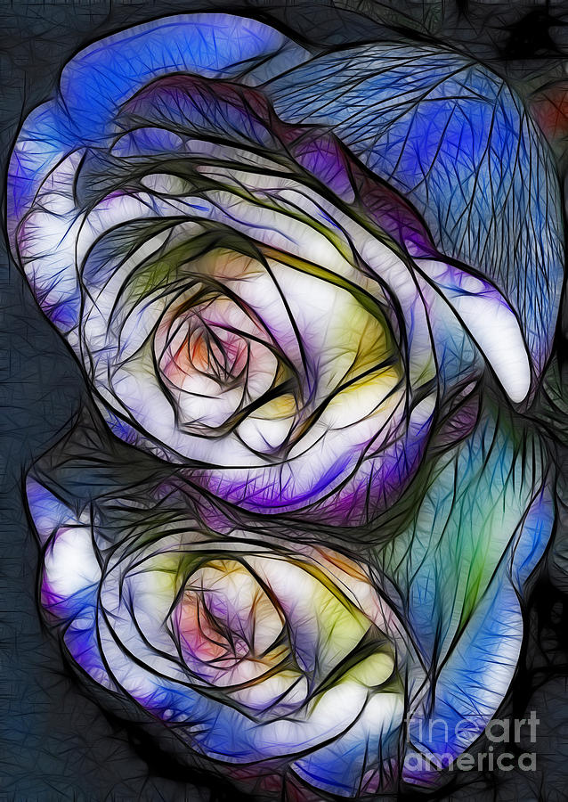 Colorful Digital Art - Fractalius Rose Reflection by Marianne Troia