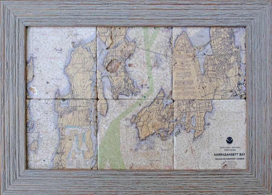 Nautical Charts Mixed Media - Framed Narragansett Bay Tile Set by P Anthony Visco