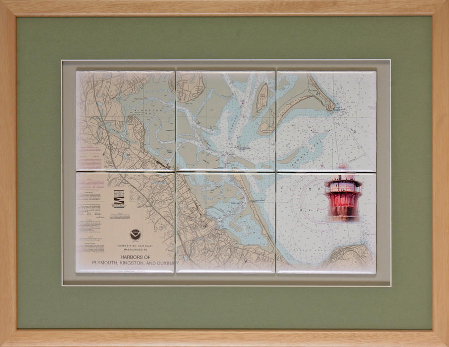 Nautical Charts Mixed Media - Framed Plymouth Bay With Lighthouse Tile Set by P Anthony Visco