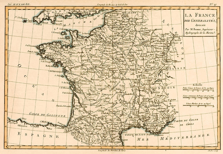 Maps Drawing - France By Regions by Guillaume Raynal