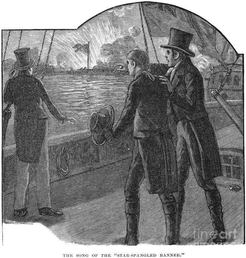 1814 Photograph - Francis Scott Key (1779-1843). American Lawyer And Poet. Witnessing The Bombardment Of Fort Mchenry, September 13-14, 1814: Wood Engraving, American, 1885 by Granger