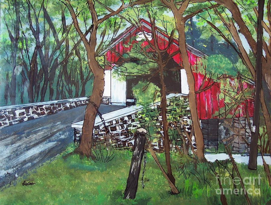 Covered Bridge Painting - Frankenfield Covered Bridge by Lucia Grilletto