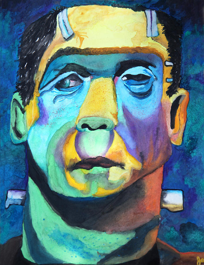 Frankenstein Painting - Frankenstein In Colour by Jacquie Waldman