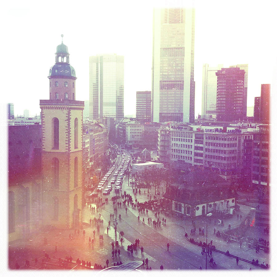 Square Photograph - Frankfurt Downtown by Ixefra