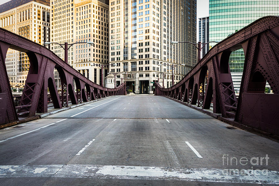 America Photograph - Franklin Orleans Street Bridge Chicago Loop by Paul Velgos