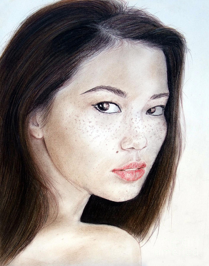Closeup Drawing - Freckle Faced Asian Model by Jim Fitzpatrick