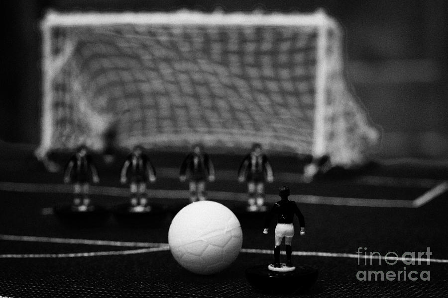 Table Photograph - Free Kick With Wall Of Players Football Soccer Scene Reinacted With Subbuteo Table Top Football  by Joe Fox
