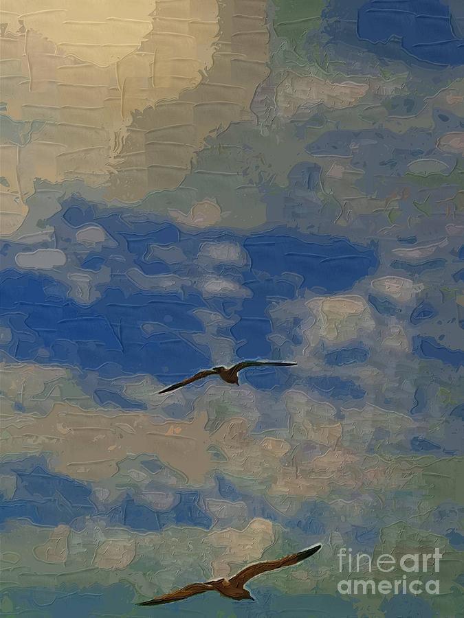 Birds Painting - Freedom Flying by Deborah MacQuarrie-Selib