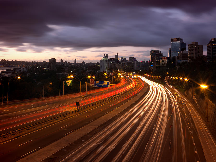 Horizontal Photograph - Freeway Lights At Dawn by John Clutterbuck