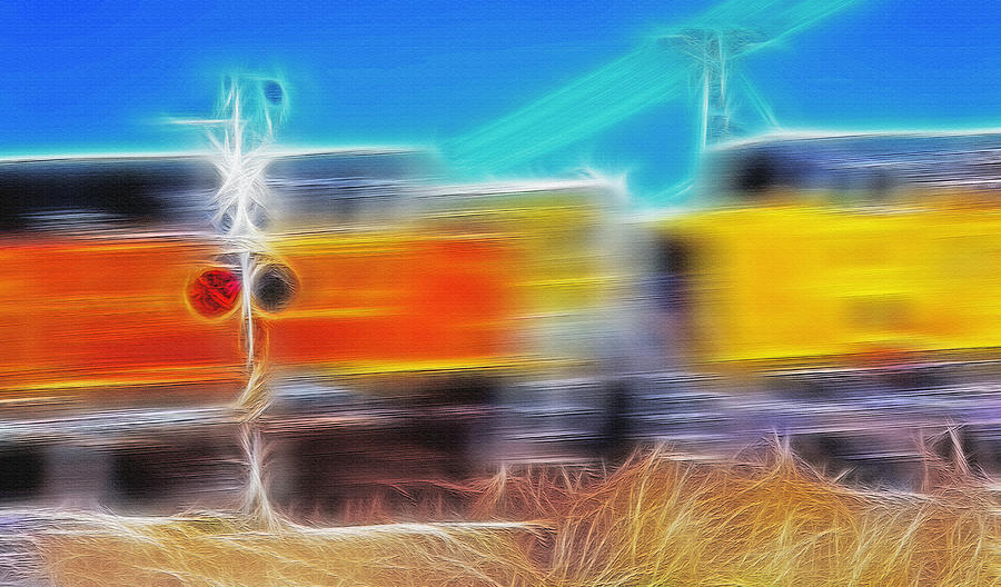 Train Photograph - Freight Train At Railroad Crossing 2 by Steve Ohlsen