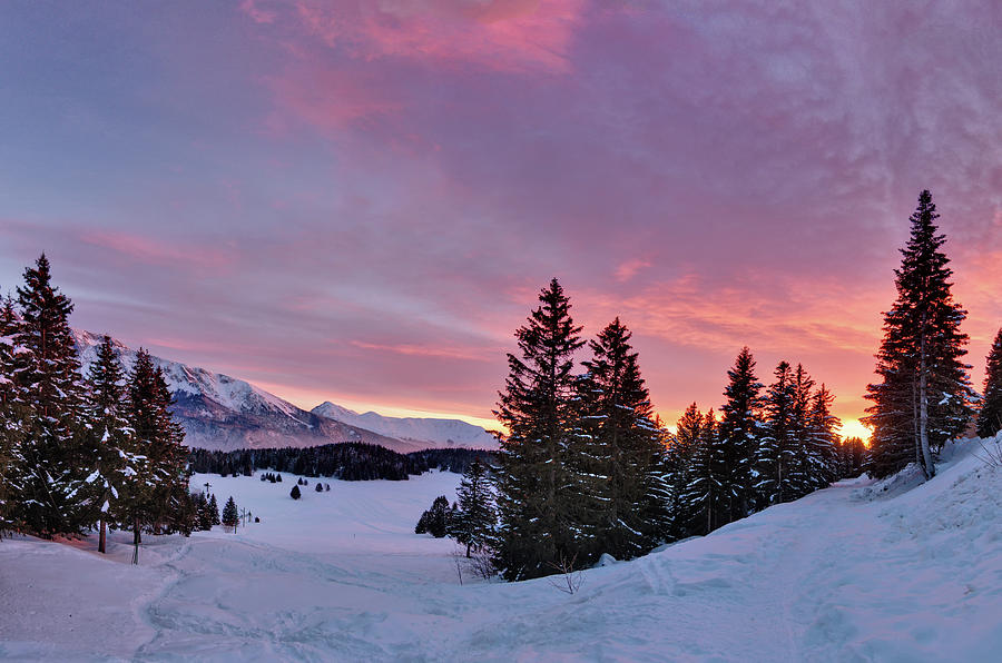 Horizontal Photograph - French Alps At Sunset by Philipp Klinger