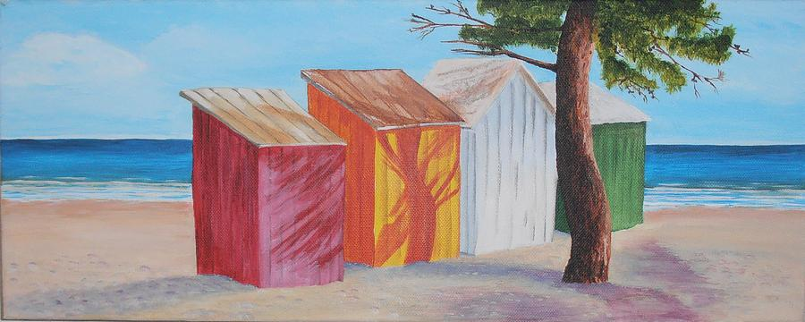 Beach Painting - French Beach Huts by Siobhan Lawson