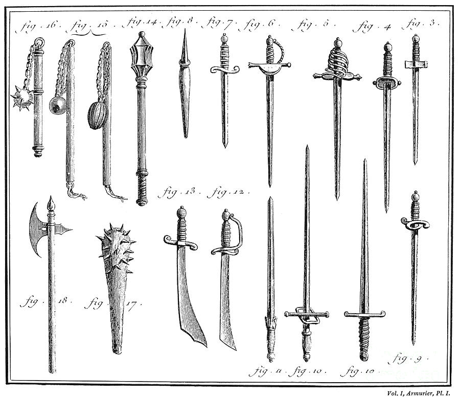 18th Century Photograph - French Chivalric Weapons by Granger