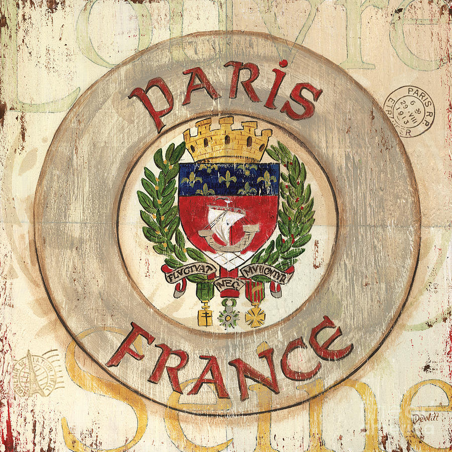 Paris Painting - French Coat Of Arms by Debbie DeWitt