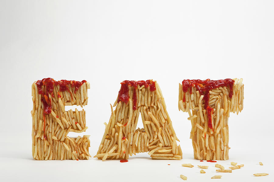 Horizontal Photograph - French Fries Molded To Make The Word Fat by Caspar Benson