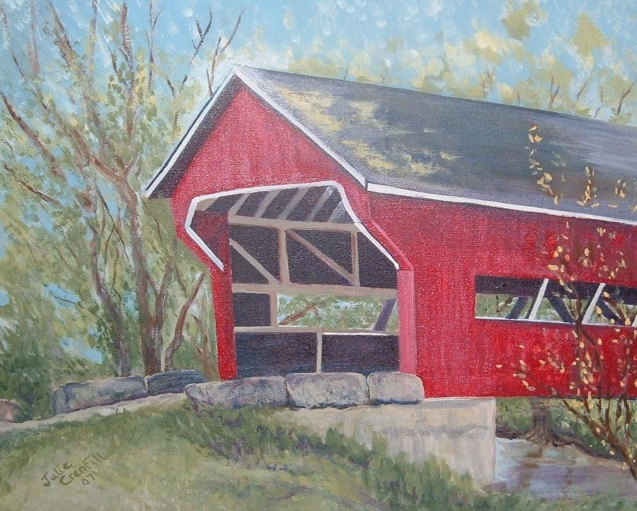 Red Covered Bridge Painting - French Lick Covered Bridge by Julie Cranfill